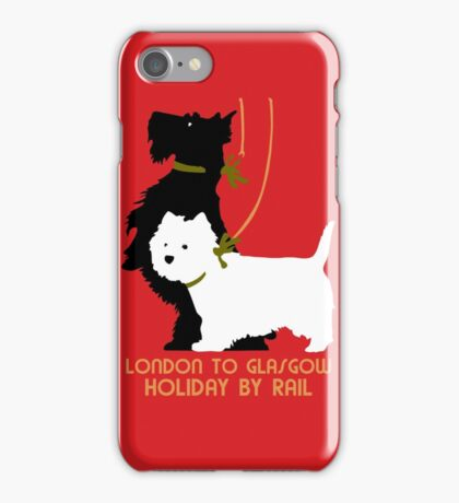 Retro London and Glasgow by train, dogs terriers  iPhone Case/Skin