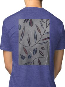 Willow Leaves. Print of Embroidered Textile Tri-blend T-Shirt