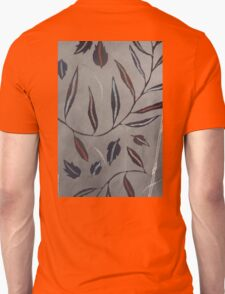 Willow Leaves. Print of Embroidered Textile T-Shirt