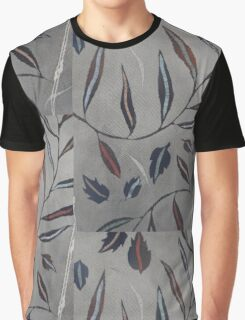 Willow Leaves. Print of Embroidered Textile Graphic T-Shirt