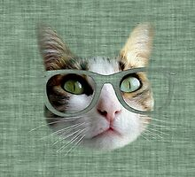Green Hipster Cat With an Oil Touch by Silvia Neto