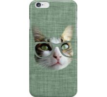 Green Hipster Cat With an Oil Touch iPhone Case/Skin