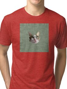 Green Hipster Cat With an Oil Touch Tri-blend T-Shirt