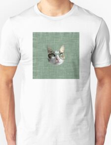 Green Hipster Cat With an Oil Touch Unisex T-Shirt