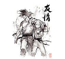 Dragon Ball Z Goku and Krillin with Calligraphy Friendship Photographic Print