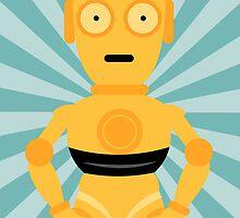 C3PO Star Wars Teal Art by designhappi