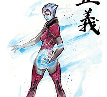 Samara from Mass Effect with Japanese Calligraphy Justice by Mycks