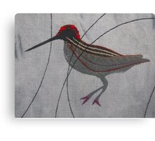 One Abstract Woodcock - Print of Embroidered Textile Canvas Print