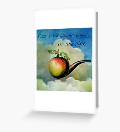 Ceci n'est pas une pomme ni une pipe Greeting Card