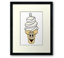 Vanilla Ice Cream Cone Cartoon Framed Print