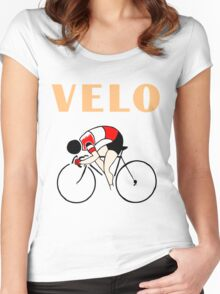 Retro art deco design cycling velo sprint Women's Fitted Scoop T-Shirt