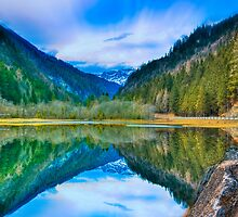 Mountain Lake Reflection by Delfino