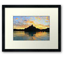 Sunset Bora Bora - Otumanu View Framed Print