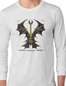 Black Gothic Bat Guitar Long Sleeve T-Shirt
