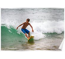 Kid Surfing in Mancora. Poster