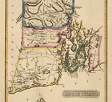 Antique Map of Rhode Island from c1817 by bluemonocle