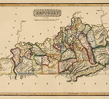 Antique Map of Kentucky from c1817 by bluemonocle