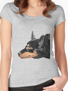 Australian Kelpie Black Portrait Women's Fitted Scoop T-Shirt