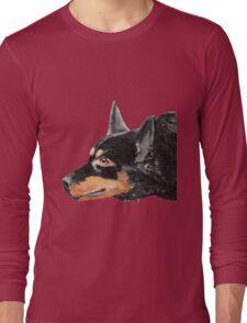 Australian Kelpie Black Portrait Long Sleeve T-Shirt