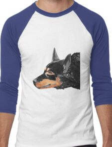 Australian Kelpie Black Portrait Men's Baseball ¾ T-Shirt