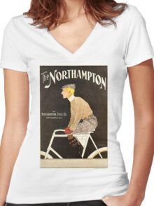 American Golden Age bicycle advertising by Penfield Women's Fitted V-Neck T-Shirt