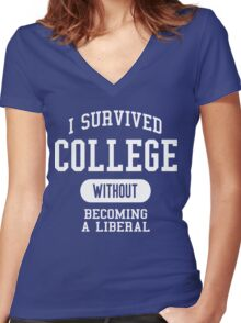 Conservative Humor - I Survived College Women's Fitted V-Neck T-Shirt