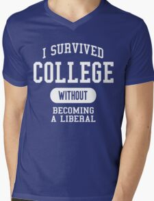 Conservative Humor - I Survived College Mens V-Neck T-Shirt