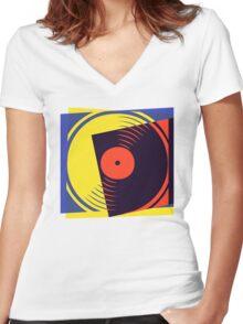 Pop Art Vinyl Record Women's Fitted V-Neck T-Shirt