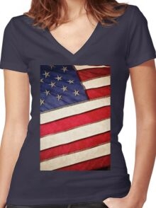 Patriotic American Flag Women's Fitted V-Neck T-Shirt