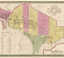 Antique Map of Washington, DC from 1849 by bluemonocle