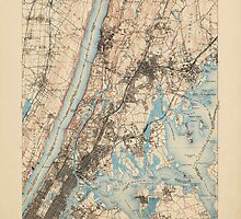 Vintage USGS Topographic Map of New York City from 1900 by bluemonocle