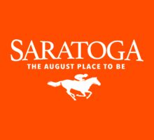 Awesome Saratoga Racetrack 'The August Place to Be' Red and White T-Shirt by Albany Retro