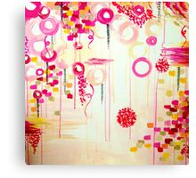 Bubblegum POP! Beautiful Cheerful Bubbles Pretty Pink Feminine Abstract Acrylic Painting Sky Canvas Print