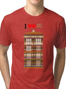 I Heart Doctor Who (4th Doctor Scarf TARDIS) Tri-blend T-Shirt