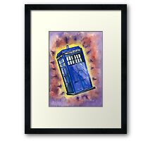 Tardis in flight inspired by Who? Framed Print