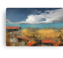 roofs and the field behind Canvas Print