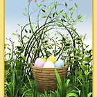 A basket of eggs in the meadow by Roberta Angiolani