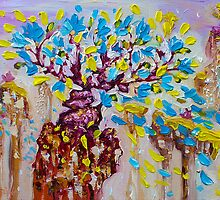 Blue Flower Painting Tree Art Oil on Canvas by Ekaterina Chernova by Ekaterina Chernova