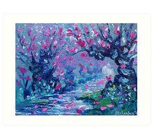 Surreal Landscape Art Pink Flower Tree Painting by Ekaterina Chernova Art Print