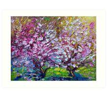 Spring Painting of Pink Flowers on Magnolia Tree Fine Art by Ekaterina Chernova Art Print