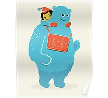 Blue-Monster Piggy-Back Ride Poster