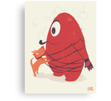 Cyclopes Monster Blob & Orange Dog Canvas Print