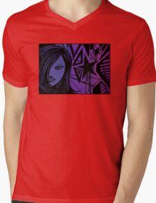 Star City Girl Purple Mens V-Neck T-Shirt