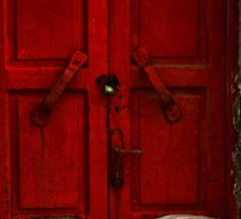 closed red door Sticker