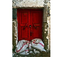closed red door Photographic Print