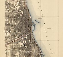 Vintage USGS Topographic Map of Chicago, Illinois from 1901 by bluemonocle