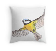 Flying Blue-tit Throw Pillow