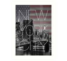Black and white New York with Usa flag Art Print