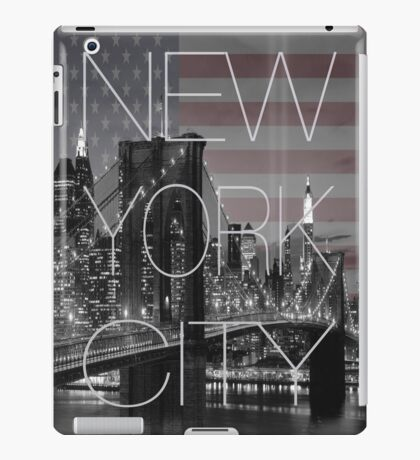 Black and white New York with Usa flag iPad Case/Skin