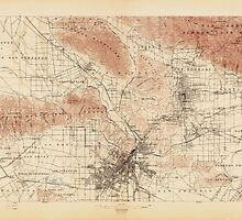 Vintage USGS Topographic Map of Los Angeles, California from 1897 by bluemonocle
